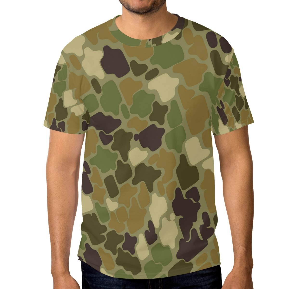 Camouflage Background Ring Mens T Shirts Graphic Funny Body Print Short T-Shirt Unisex Pullover Blouse