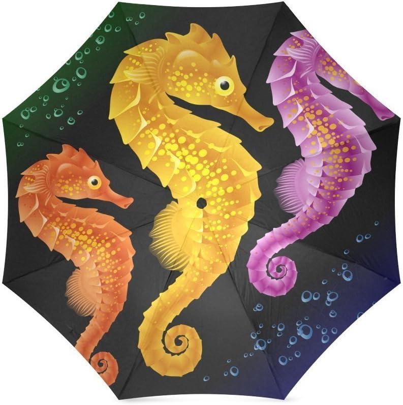 ZLFのLOVE Customized Colorful Seahorses Foldable Umbrella