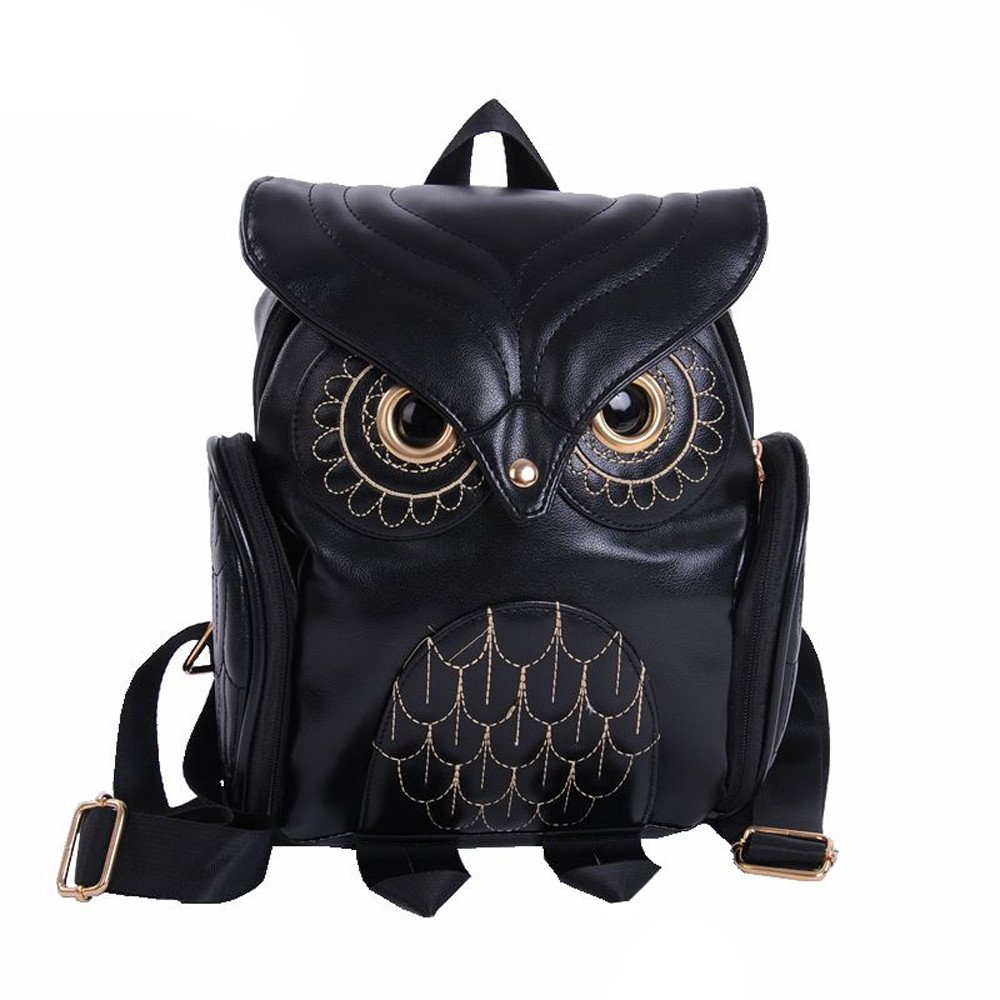 Liraly Women Bags, 2018 Fashion Cute Owl Backpack Women Cartoon School Bags for Teenagers Girls (Black)