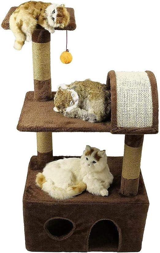 GYFSLG Centro De Actividades Escondidas para Gatos Centro para Escalar con Gatos Marco para Rascarse Picazón Panel De Partículas Cuerda De Cáñamo Tela De Felpa Hizo Su Propio Ensamblaje: Amazon.es: Productos para