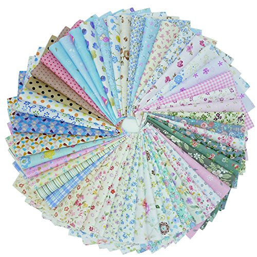 """50pcs 7.8"""" x 9.8"""" 100% Cotton Fabric Bundle Square Quilting Patchwork for DIY Sewing Dot and Floral Prints Patterns"""