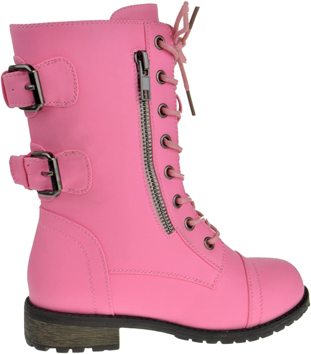 Youth 11 12 13 1 2 3 4 Link Youth Girls Lace Up Faux Leather Boots Mango 79K