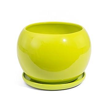 Pot De Fleur Ceramique Globe Avec Soucoupe Support Hauteur 13 Cm