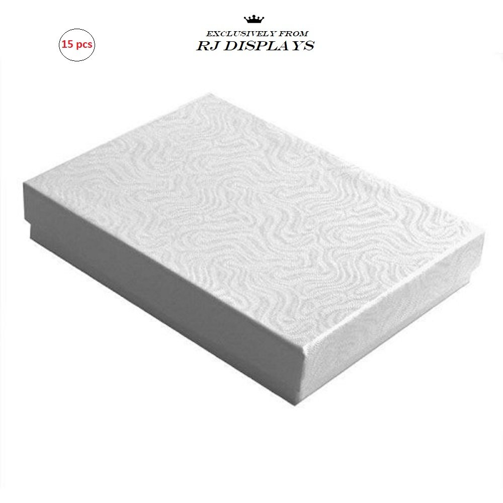 15 Pack Cotton Filled White Color Paper Cardboard Jewelry Gift and Retail Boxes Size: 7'' x 5'' x 1-1/8'' Inch by R J Displays