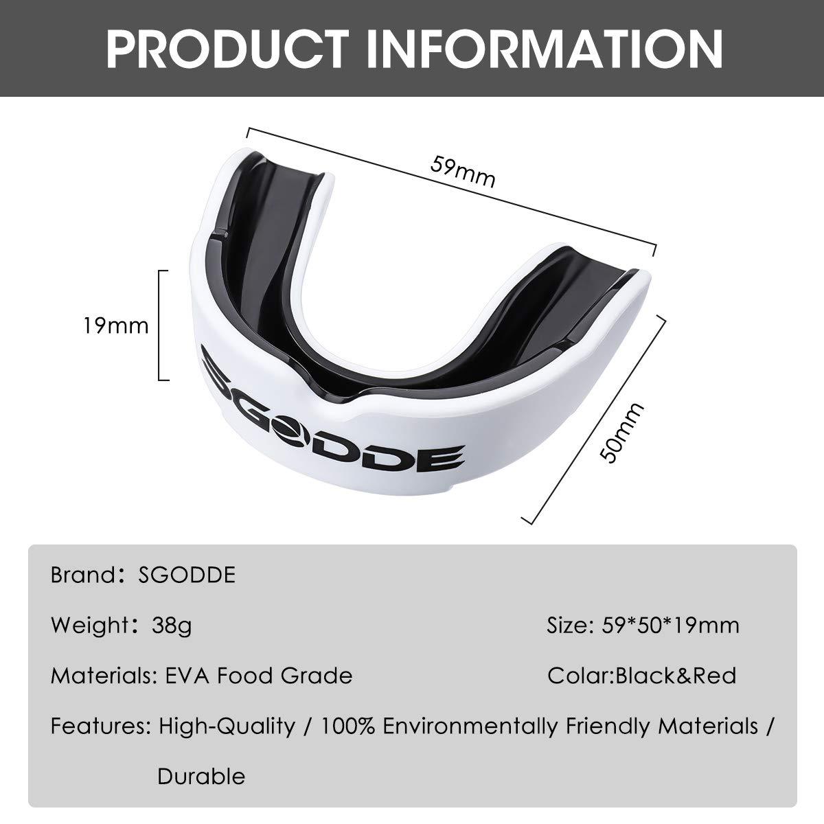 Bianco e Nero Taekwondo SGODDE Predator Paradenti Lotta e Basket ECC. Sportivo Custodia Protettiva per Materiale Eva Adatta per Boxe