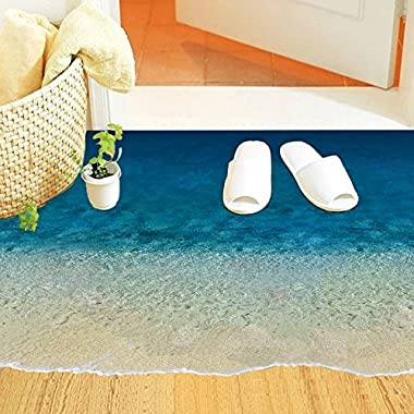 Witkey 3d Sandy Beach Removable Floor Decor Vinyl Self-adhesive Wall Sticker Art Decal Mural