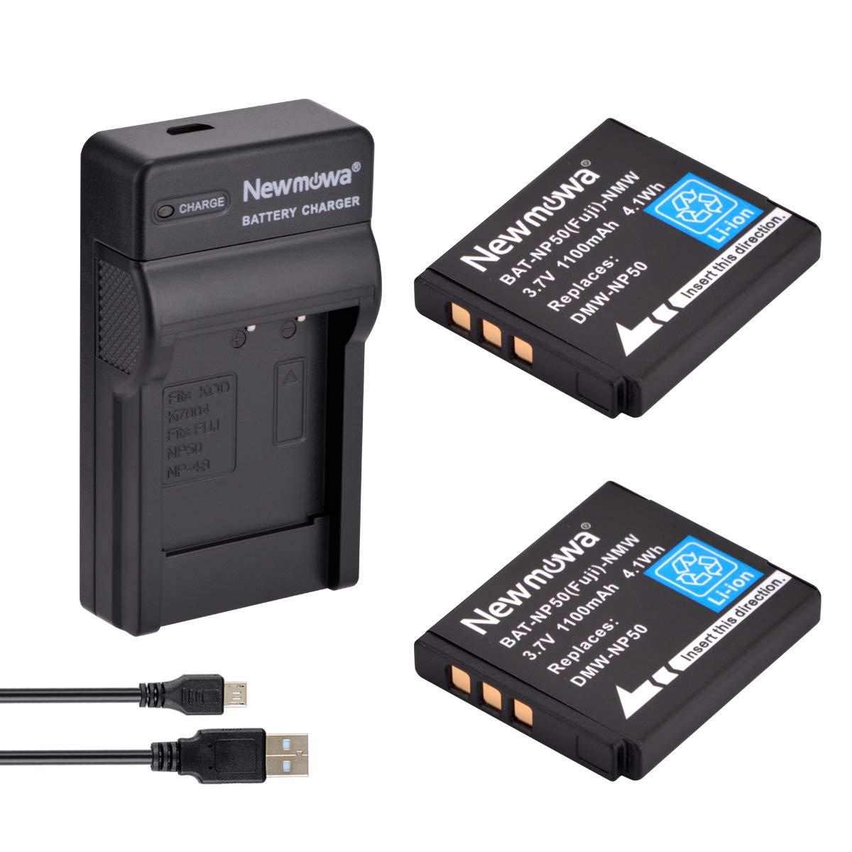 Newmowa NP-50 Batería (2-Pack) y Kit Cargador Micro USB ...