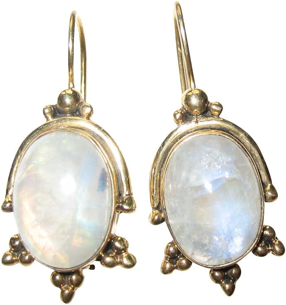 ovalada atractiva Pendientes piedra de luna (Dorado) con un hellblauen Adularia mano única. Fabricado en italy Florenz