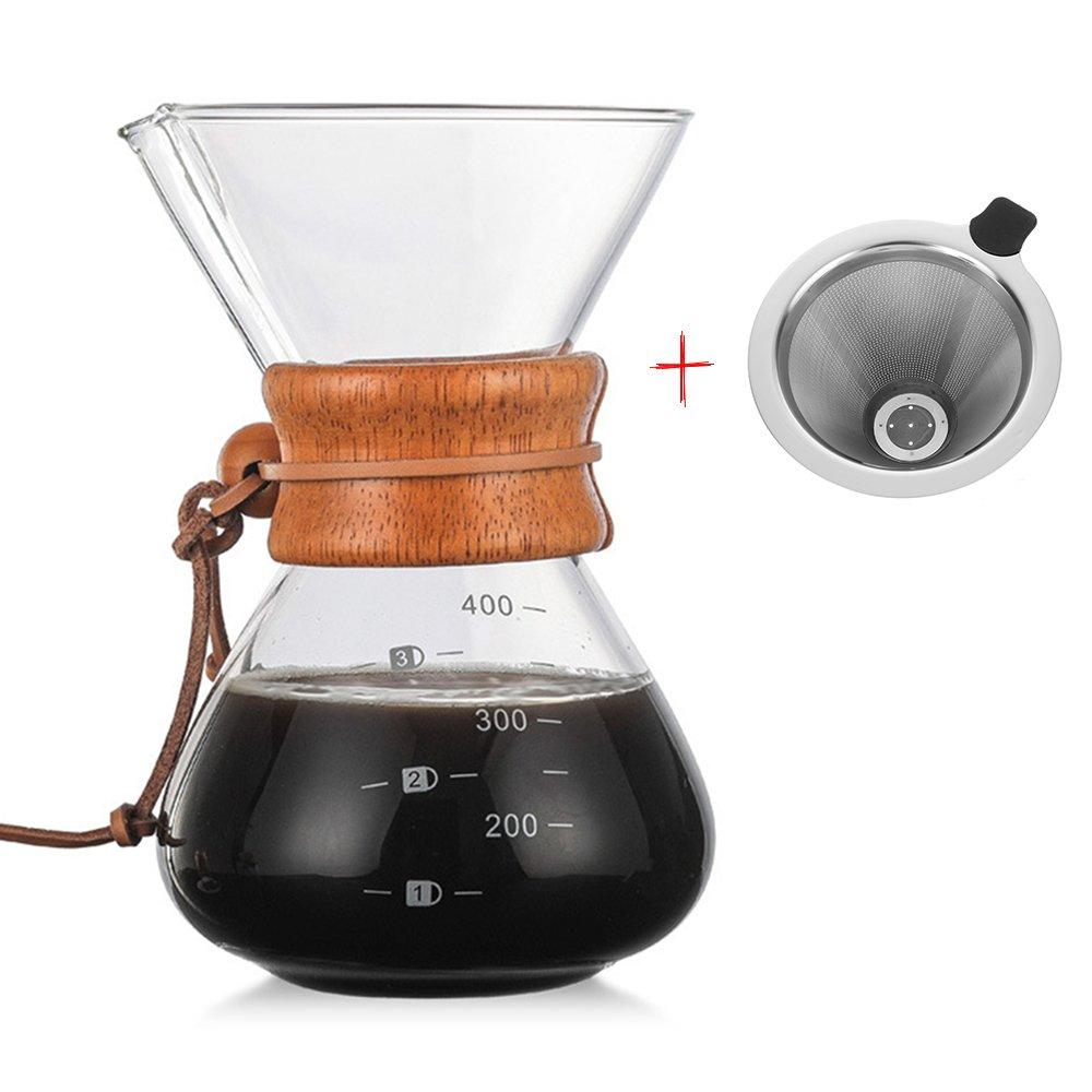 Acquisto versare sopra la caffettiera, macchina per il caffè a gocciolamento a mano in vetro con filtro a goccia d'acciaio cono in acciaio inox | caraffa borosilicata con manico in legno – 400ml Prezzi offerta