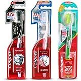 Colgate Slim soft Advanced Toothbrush - 1 Piece with Slim soft Charcoal Toothbrush - 1 Piece and Slim Soft Toothbrush - 1 Piece