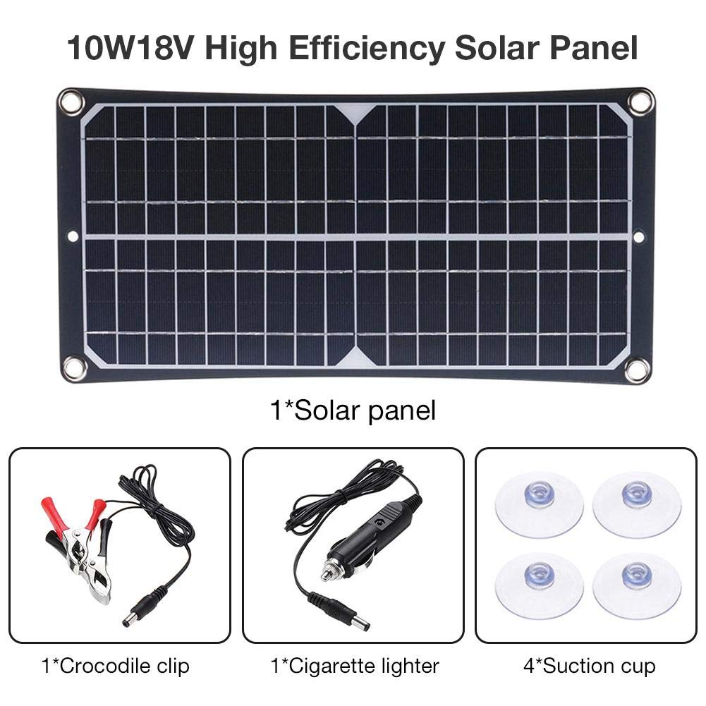 haptern 10W 18V High Efficiency Solar Panel Energy Saving Charging Board - for Mobile Phone Battery RV Car Outdoor Generator Camping Cycling Traveling Ingenious Advantage by haptern
