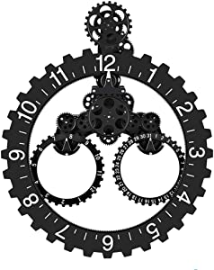 """SevenUp Gear Clock Wall-Premium Plastic and Metal Parts Material, Best 3D Moving Gear Clock Wall, 26"""" x 22"""", A Fine Artwork, Perfect for Living Room, Reading Room, Restaurant, Office Decor (Black)"""