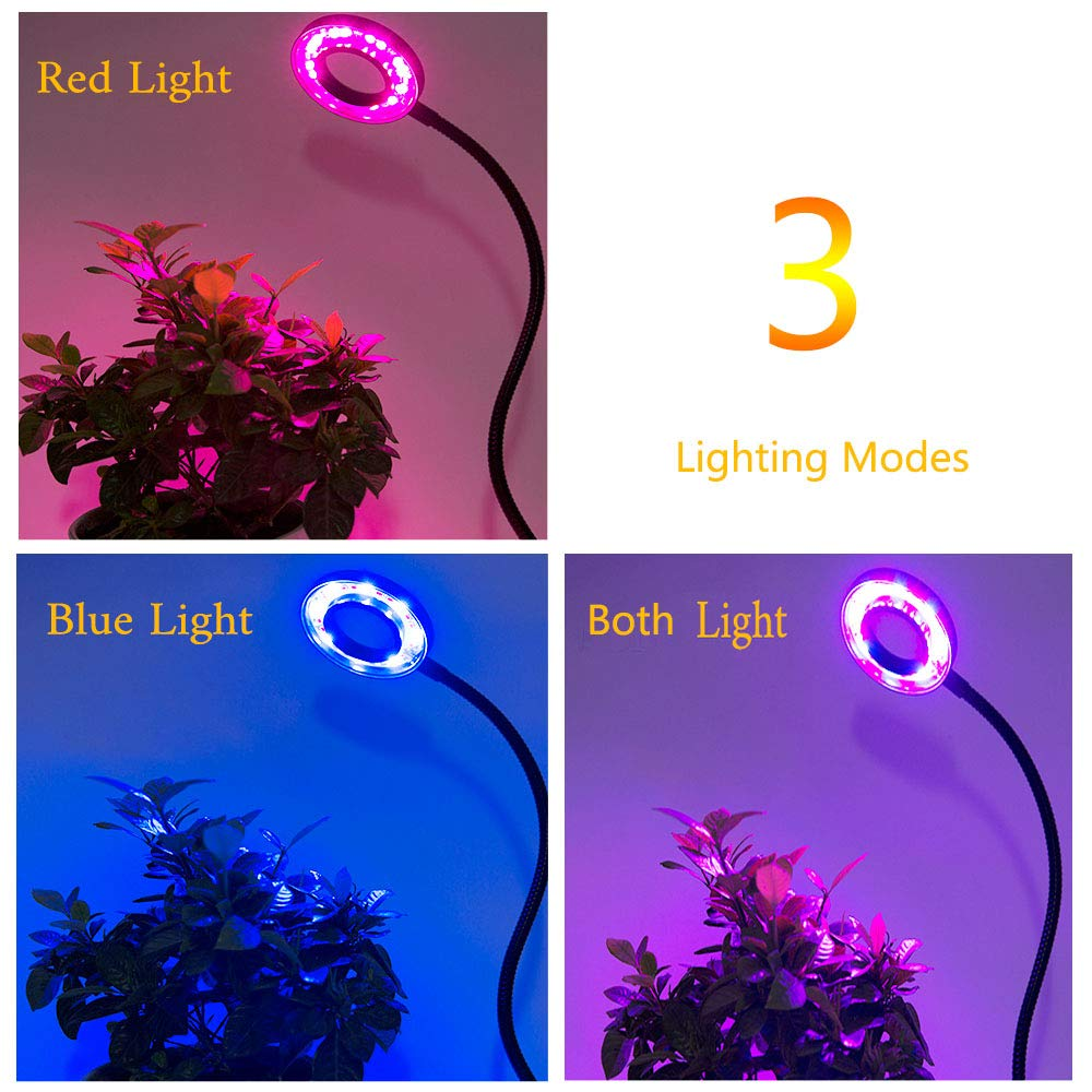 LED Plant Grow Light, Upgraded Timing Function (3H/6H/12H) 12W Clip On Plant Lamp with 360°Flexible Gooseneck, 24 LED 3 Lighting Modes 5 Level Dimmable Desk Table Growing Lamps for Indoor Plants Greenhouse Gardening