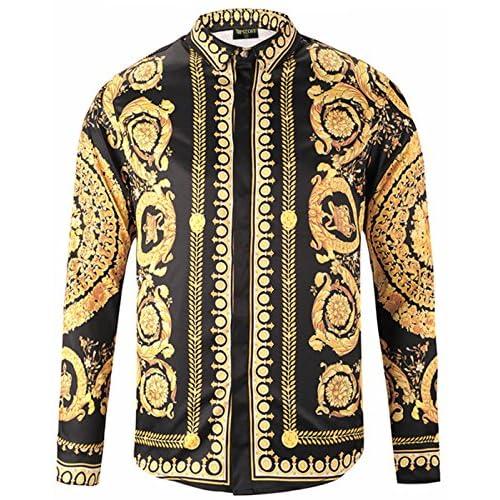 On Sale Pizoff Mens Long Sleeve Luxury Print Dress Shirt