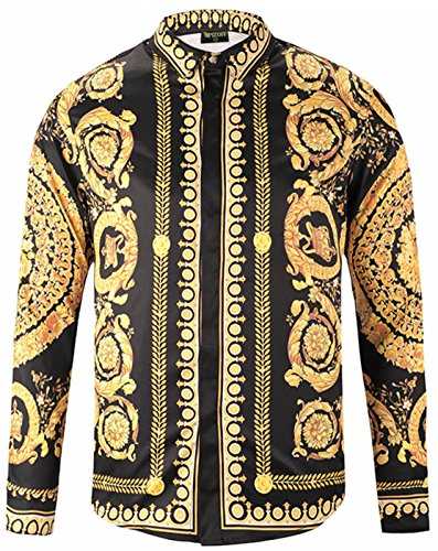 PIZOFF Mens Long Sleeve Luxury Gold Round Floral Print Dress Shirt Y1792-18-XXL