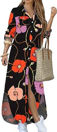 Kuraki Women's Casual Print Button Front Maxi Shirt Dress