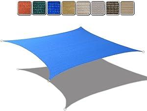Alion Home Custom HDPE UV Block Sun Shade Sail Permeable Rectangle Canopy for Pool Outdoor Patio Garden (6' x 12', Royal Blue)