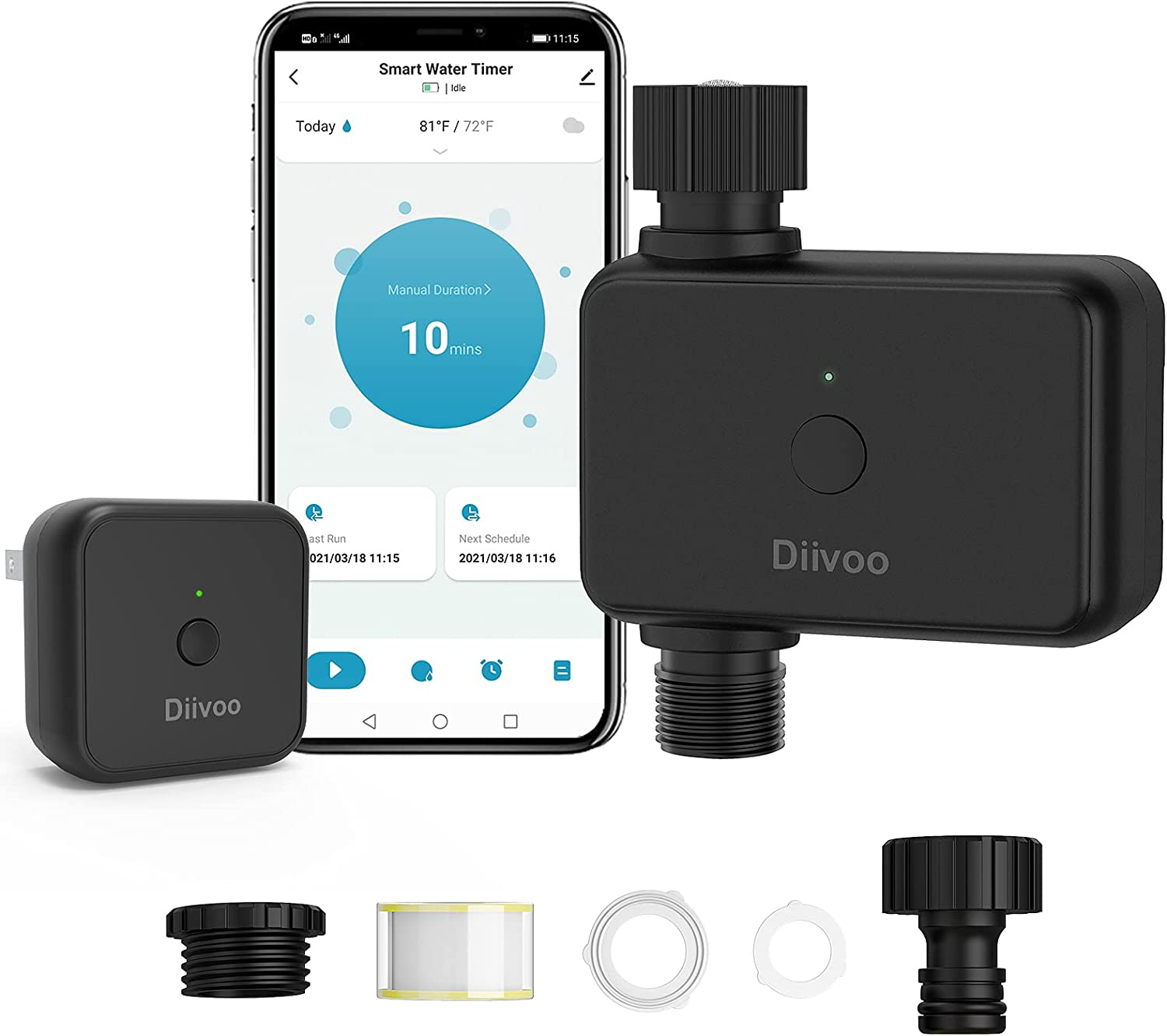 Smart Water Timer with WiFi Hub, Diivoo WiFi Sprinkler Hose Timer Works with Alexa and Google Assistant via Wireless Hub for Garden Lawn and Pool Filling