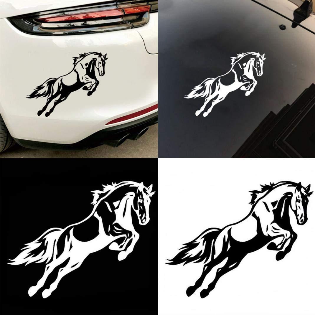 Black YUSHHO56T Car Sticker External Decoration Car Sticker Mighty Jumping Horse Bumper Vehicle Body Decal Vinyl Reflective Car Sticker