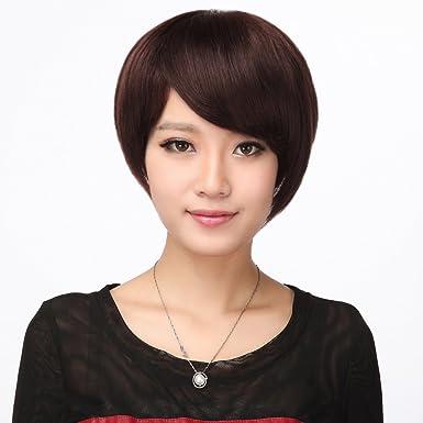 f2cf1a78c872d4 Amazon | HAIRSW 医療用 ウィッグ ショート 天使の人毛100% 頭頂部手植えでふんわり ウィッグ ショート 脱毛症 栗色 |  フルウィッグ 通販