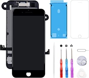 for iPhone 8 Plus Screen Replacement 5.5 inch, LCD 3D Touch Display Digitizer with Proximity Sensor + Front Facing Camera + Earpiece Speaker + Metal Back Plat + Tools Kit (iPhone 8plus Black)