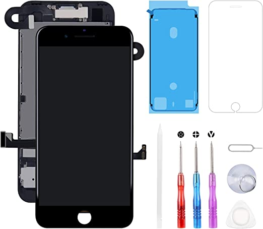 Black Screen Replacement Compatible with iPhone 8 Plus Full Assembly LCD 3D Touch Display Digitizer with Front Camera Ear Speaker Sensors and Repair Tools