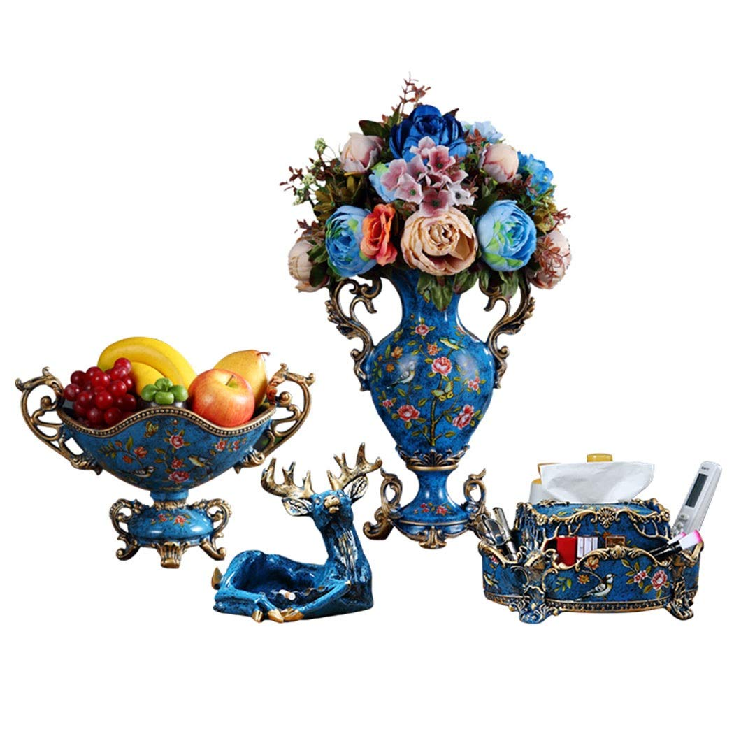 HONGNA European Creative Fruit Plate Set Living Room Coffee Table Four Sets of American Luxury Home Retro Dried Fruit Tray Ornaments (vase Ashtray Tissue Box Fruit Plate) (Color : Blue)