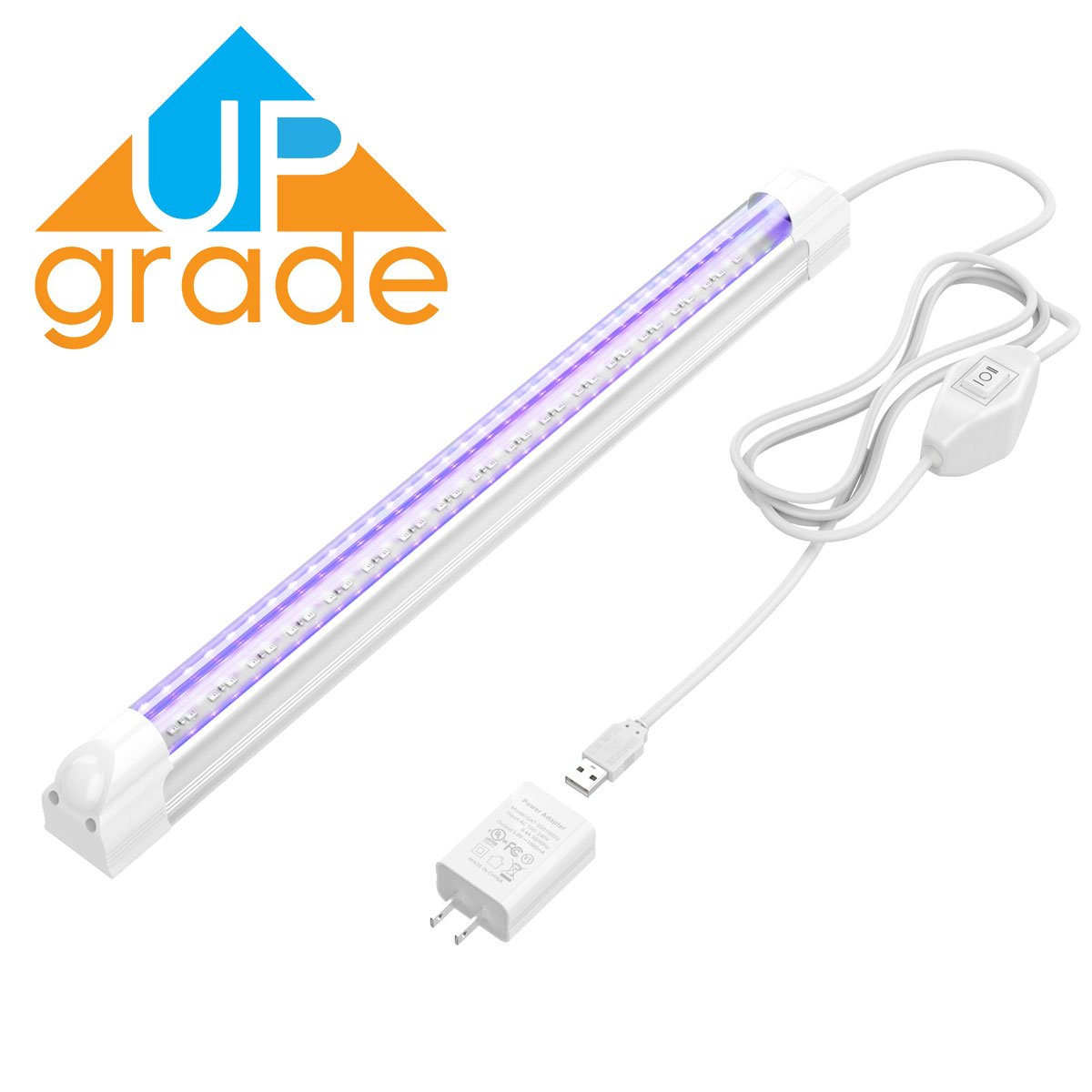 [Upgrade] UV LED Black Light Fixture, KAIKING Heavy Duty 6W Portable USB Blacklight for UV Poster, UV Art, Ultraviolet Curing, Authentication Currency, Stain Detector Or Home Party