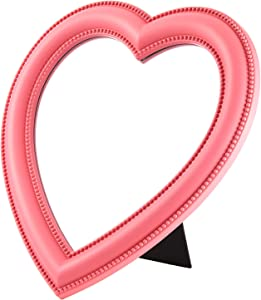 Heart Makeup Mirror Heart Shaped Mirror Tabletop Cosmetic Mirror Wall Mirror Vanity Mirror for Women Girls Pink, 10.6 Inches