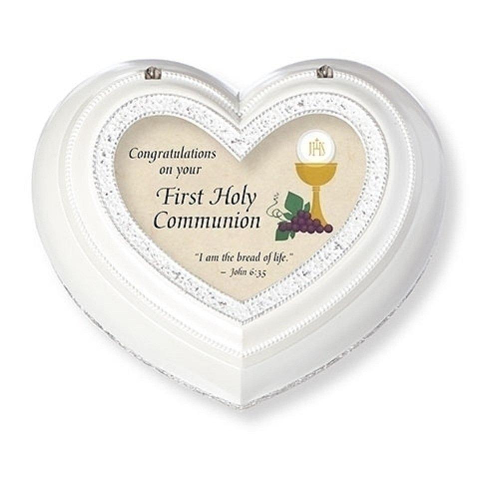 Roman Congratulation Heart Shaped Music Box White