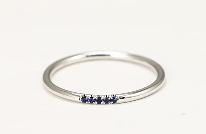 14k White Gold Sapphire Wedding Band Stacking Ring