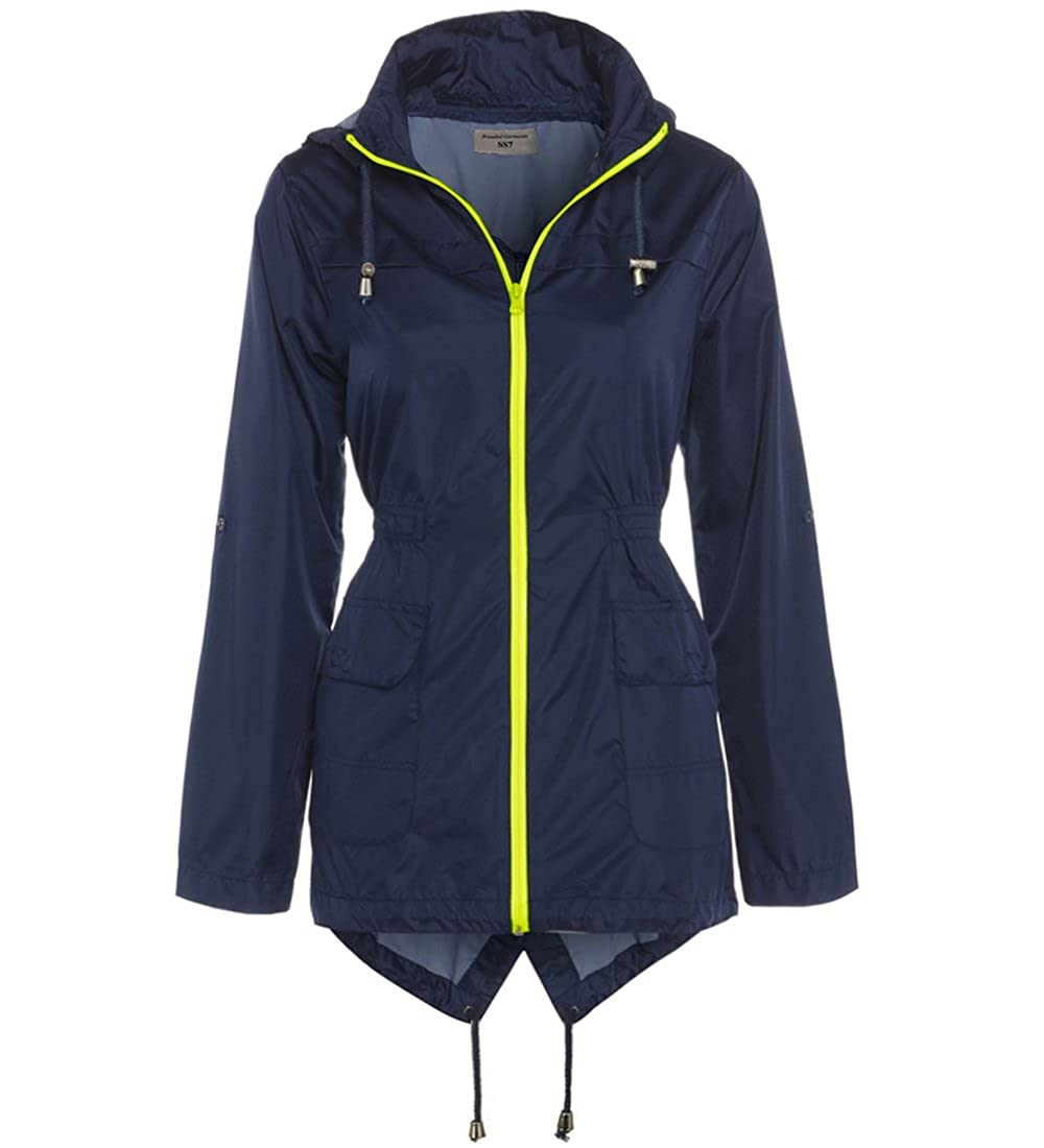 SS7 New Womens Neon Zip Showerproof Rain Mac Raincoat Ladies Black Jacket Size 8-16