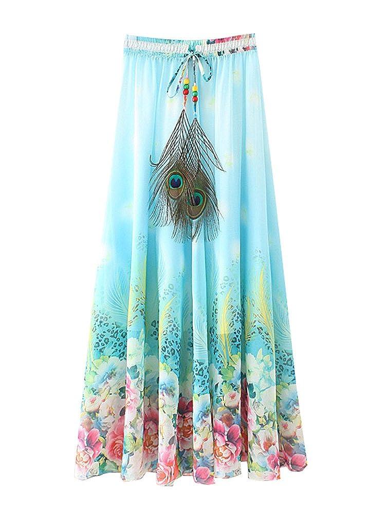 Wicky LS Women's Pleated Chiffon Skirt Beach Long Skirt Casual Skirt Slim Fit US XS-M