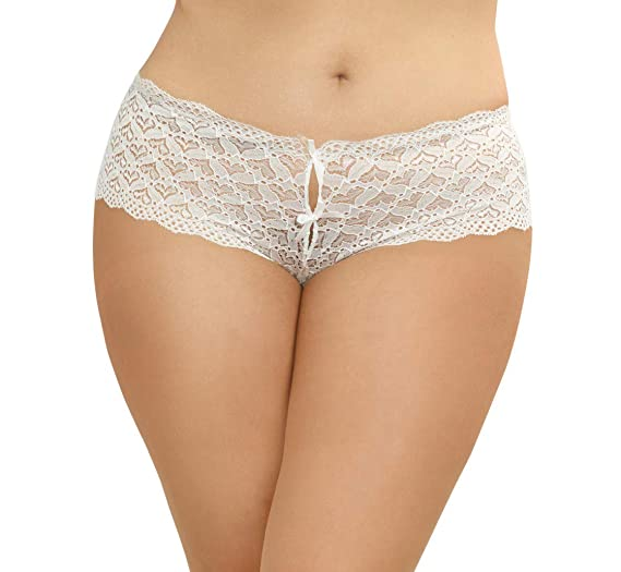 4340e79dbb4 Amazon.com  Dreamgirl Women s Plus Size Lace Panty with Heart Cutout ...