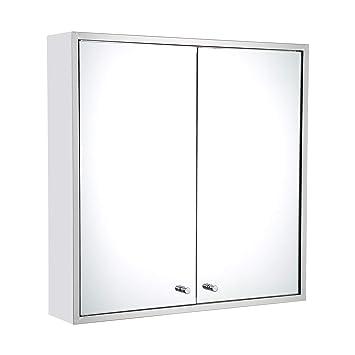 Mecor Double Door Bathroom Mirror Cabinet 600 X 600 Stainless Steel