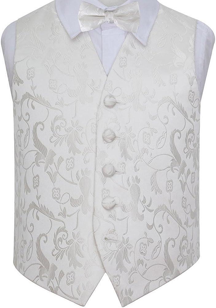 DQT Woven Floral Patterned Wedding Tuxedo Waistcoat /& Bow Tie Set for Boys