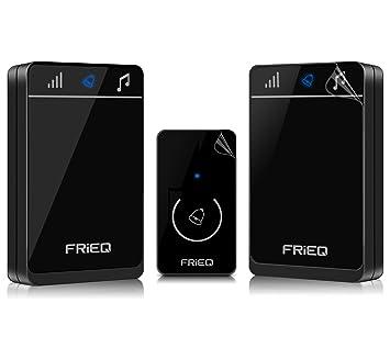 FRiEQ Portable Waterproof Wireless Doorbell   Premium Wireless Door Chime  Design Over 150M Range With 2