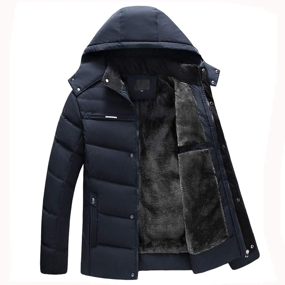 Allywit Men's Hooded Faux Fur Lined Quilted Winter Coats Jacket Warm Outwear Oversize by Allywit (Image #2)