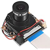 Dorhea Raspberry Pi 3 Model B+ Camera Module Automatic IR-Cut Switching Day/Night Vision Video Module Adjustable Focus 5MP OV5647 Sensor 1080p HD Webcam for Raspberry Pi 2/3 Model B Model A A+