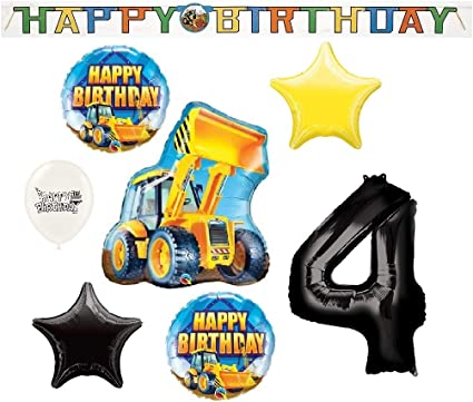 """Happy 4th Birthday Balloon Yellow with Banners 18/"""" Foil Balloon"""