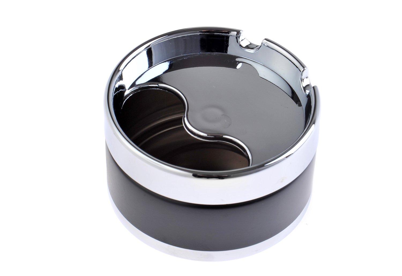 The Khan Outdoor & Lifestyle Company Elegant Round Zinc Alloy Covered Ashtray, black, 8cm diameter, Mod. 778-01 (DE)