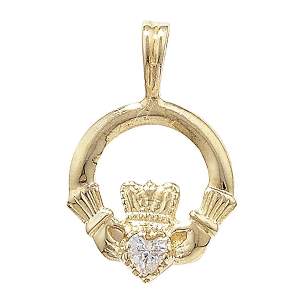 Para niños 9ct circonitas cúbicas dorado juego de colgante de Claddagh A Prince of Wales collar con colgante en forma