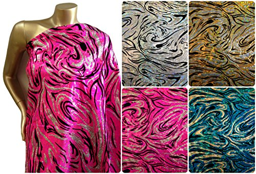Glitter & Flocking Waves on Shattered Glass Foil Stretch Nylon Spandex Shiny Tricot Fabric By the Yard (Holo 2 Costumes)