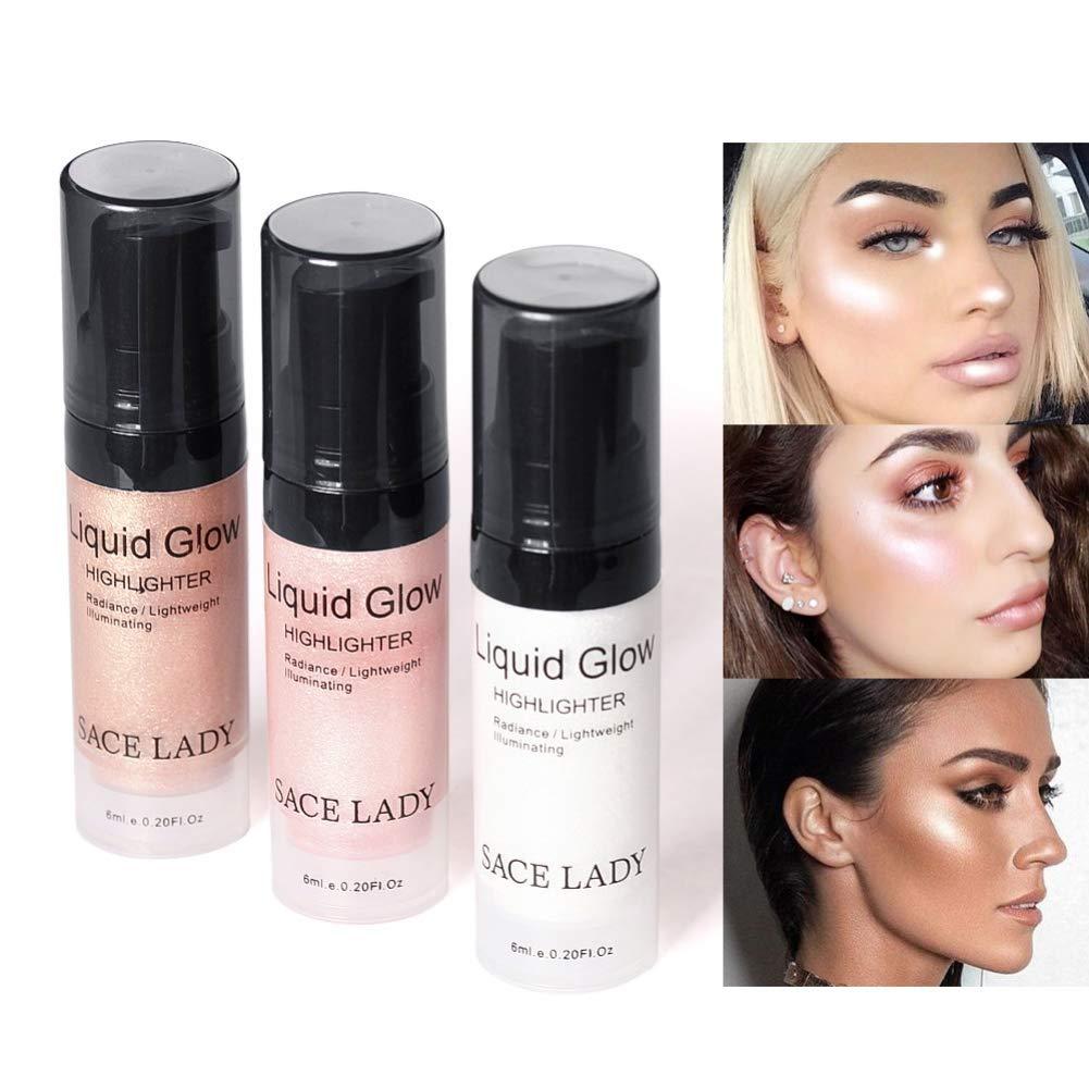 Zhengpin Shimmer Pearl Liquid Highlighter Cream Makeup Ultra-Smooth Radiant Illuminator Face Cheekbones Glow Cosmetics (6ml/0.20Fl Oz) (01.Sliver)