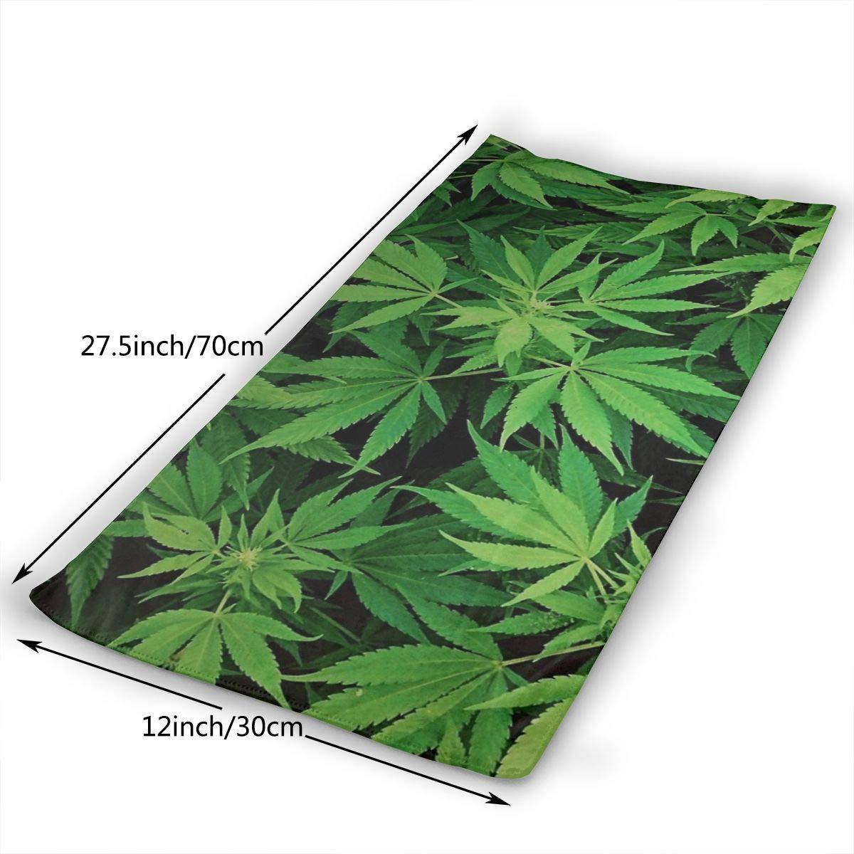Toallas de mano grandes de microfibra (marihuana de hierba verde de cannabis - 12 x 27.5 pulgadas) - Toalla multiusos de secado rápido para baño, cara, ...