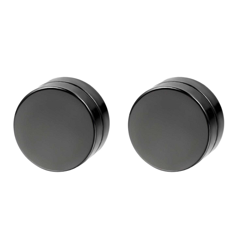 Flongo Men's Women Punk 12mm Stainless Steel Black Magnetic Non-piercing Clip Fake Cheater Stud Earrings by Flongo (Image #1)