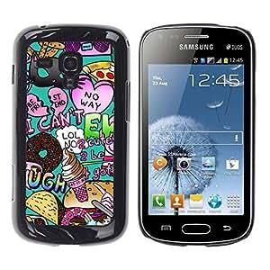 TopCaseStore / la caja del caucho duro de la cubierta de protección de la piel - Random Modern Heart Teal - Samsung Galaxy S Duos S7562