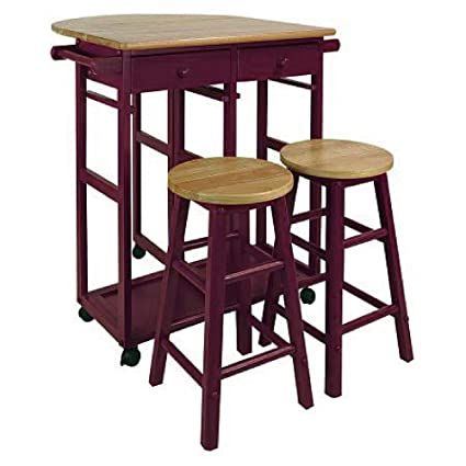 Attirant Counter Height Folding Table With Stools U0026 Drawers Solid Hardwood Bar Cart  Flip Up Counter