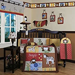 Geenny Boutique Amazon Jungle Animal Unisex 13 Piece Baby Crib Bedding Set