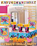 Ultimate Trolls Party!!!Birthday Party Decoration Supplies Bundle Pack with 16lg&16sm Plates 16-9oz Cups, Matching Table Cover&Jumbo Banner,50 Napkins(Bonus Matching Party Straw Pack)